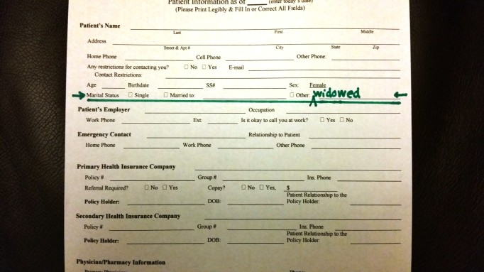 "At least this form offered me the option of ""Other"" where I could write in my own category: widowed."