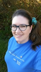 Teresa TL Bruce, TealAshes.com, wearing blue (with accents of teal) for Children's Grief Awareness Day