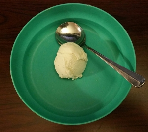 One scoop of vanilla ice cream in a teal bowl.
