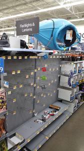 empty flashlight shelves, empty lantern aisle, prehurricane, tealashes.com